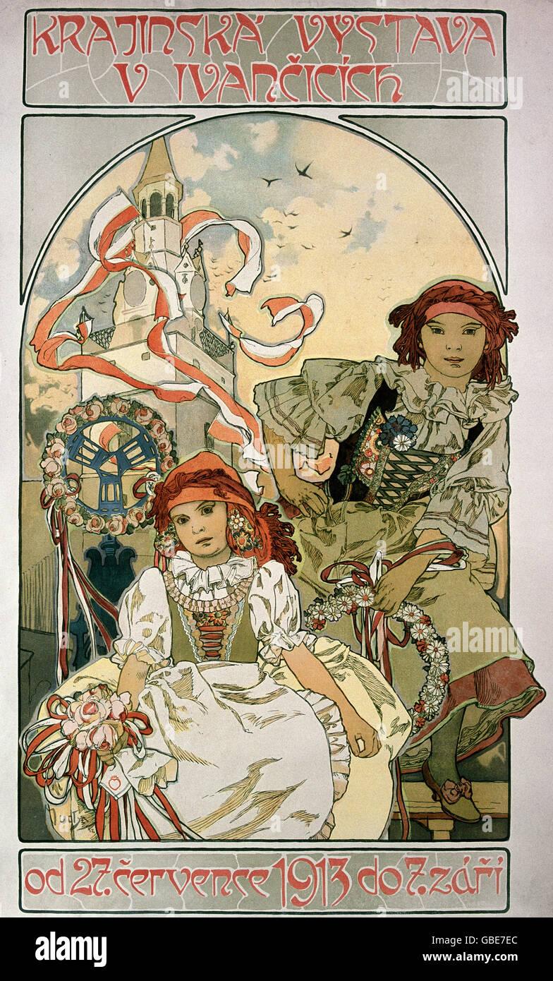 "fine arts, Mucha, Alfons, (1860 - 1939), poster, ""Krajiinska Vystava V Ivancicich"", 1913, Stock Photo"