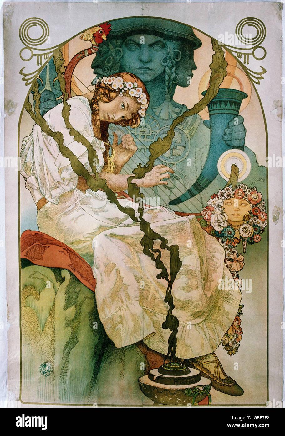 fine arts, Mucha, Alfons, Alfons (1860 - 1939), poster, colour lithograph, circa 1900, Stock Photo