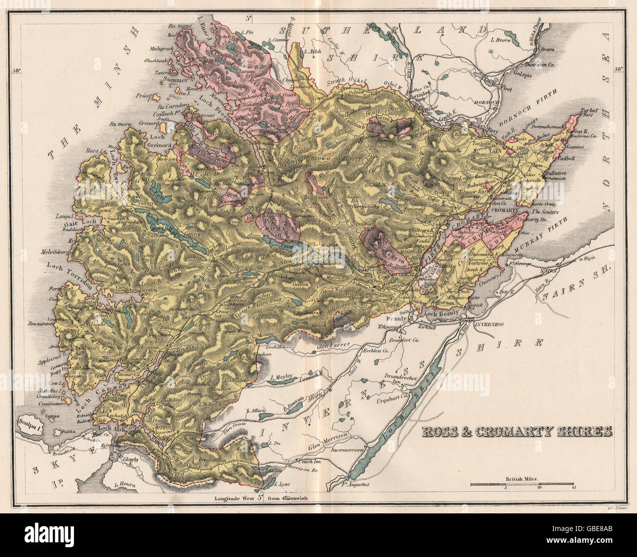 ROSS-SHIRE & CROMARTYSHIRE: Antique county map. Scotland. LIZARS, 1885 - Stock Image