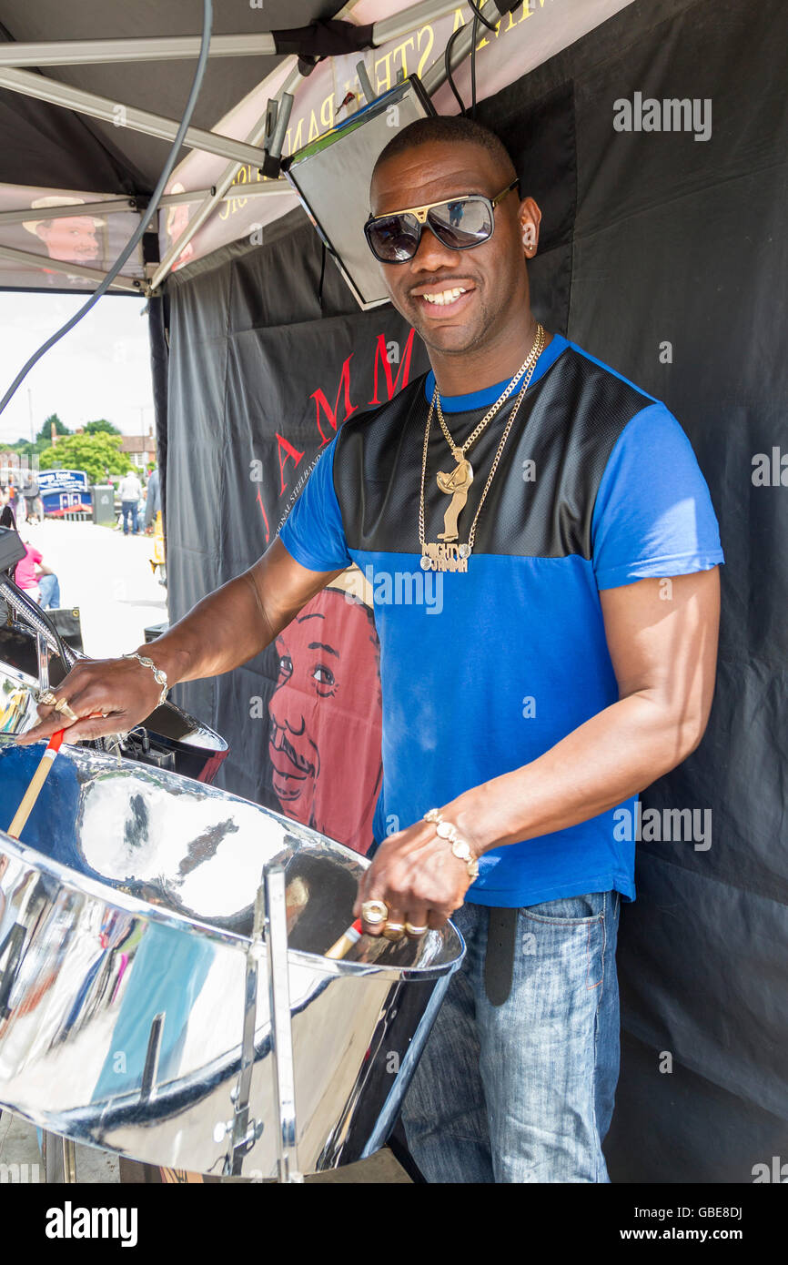 Mighty Jamma, Musician playing steel drums at Stratford upon Avon Sunday market. - Stock Image