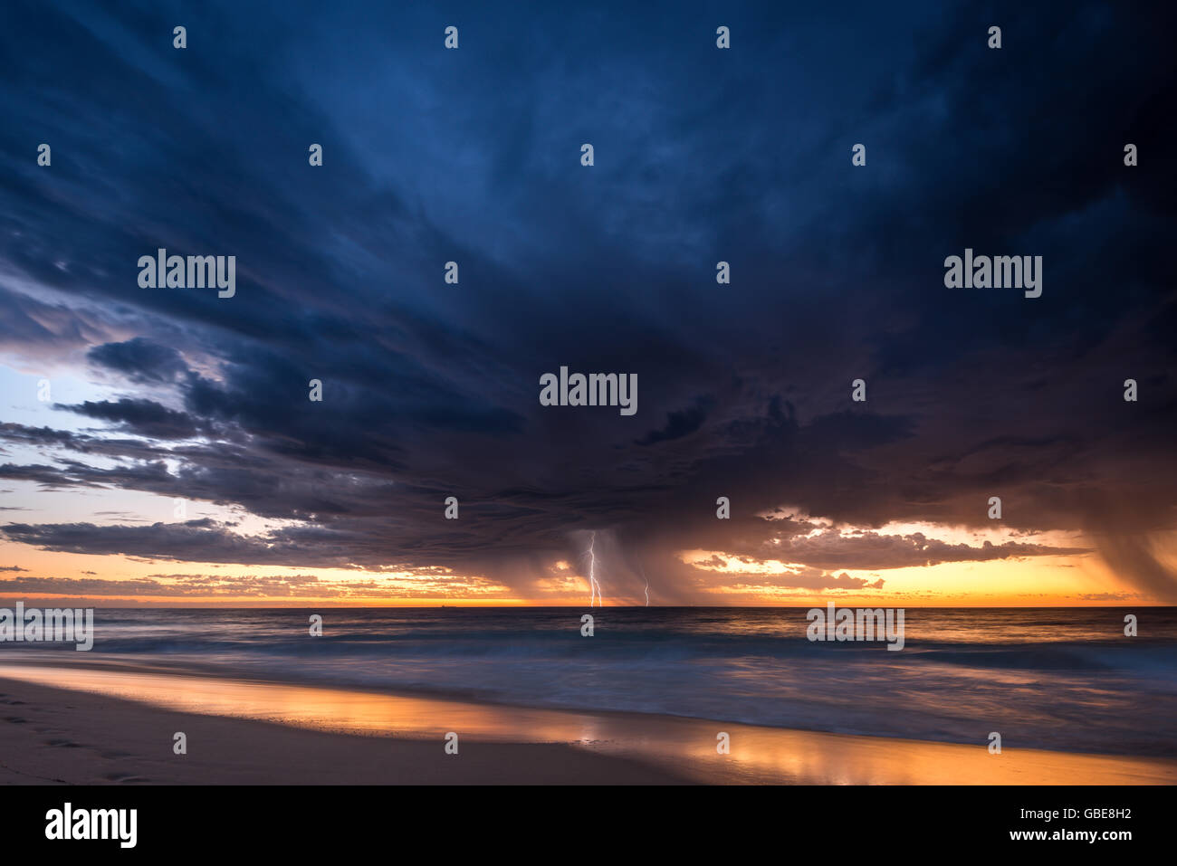 Summer storm from City beach in Perth, Australia Stock Photo