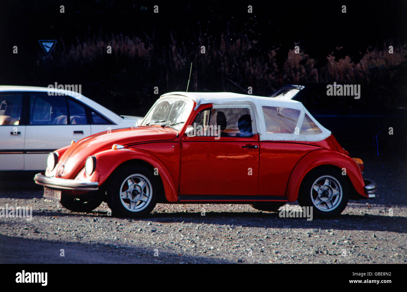 transport / transportation, car, vehicle variants, Volkswagen, VW Beetle convertible with folding top and tarpaulin, - Stock Image