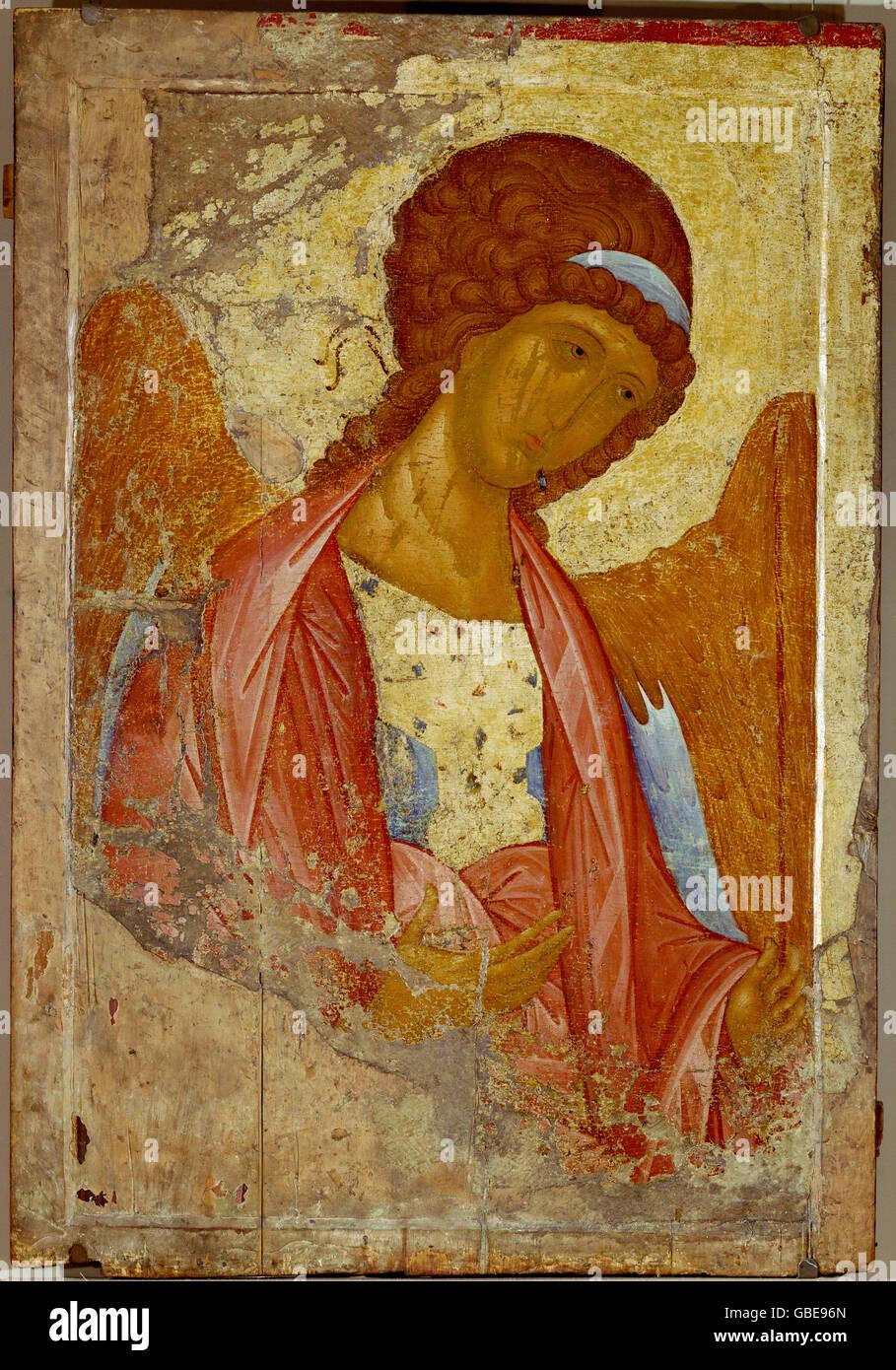 fine arts, Rublev, Andrei (circa 1360 - 1430), painting, 'Archangel Michael', icon, tempera on wood, circa - Stock Image