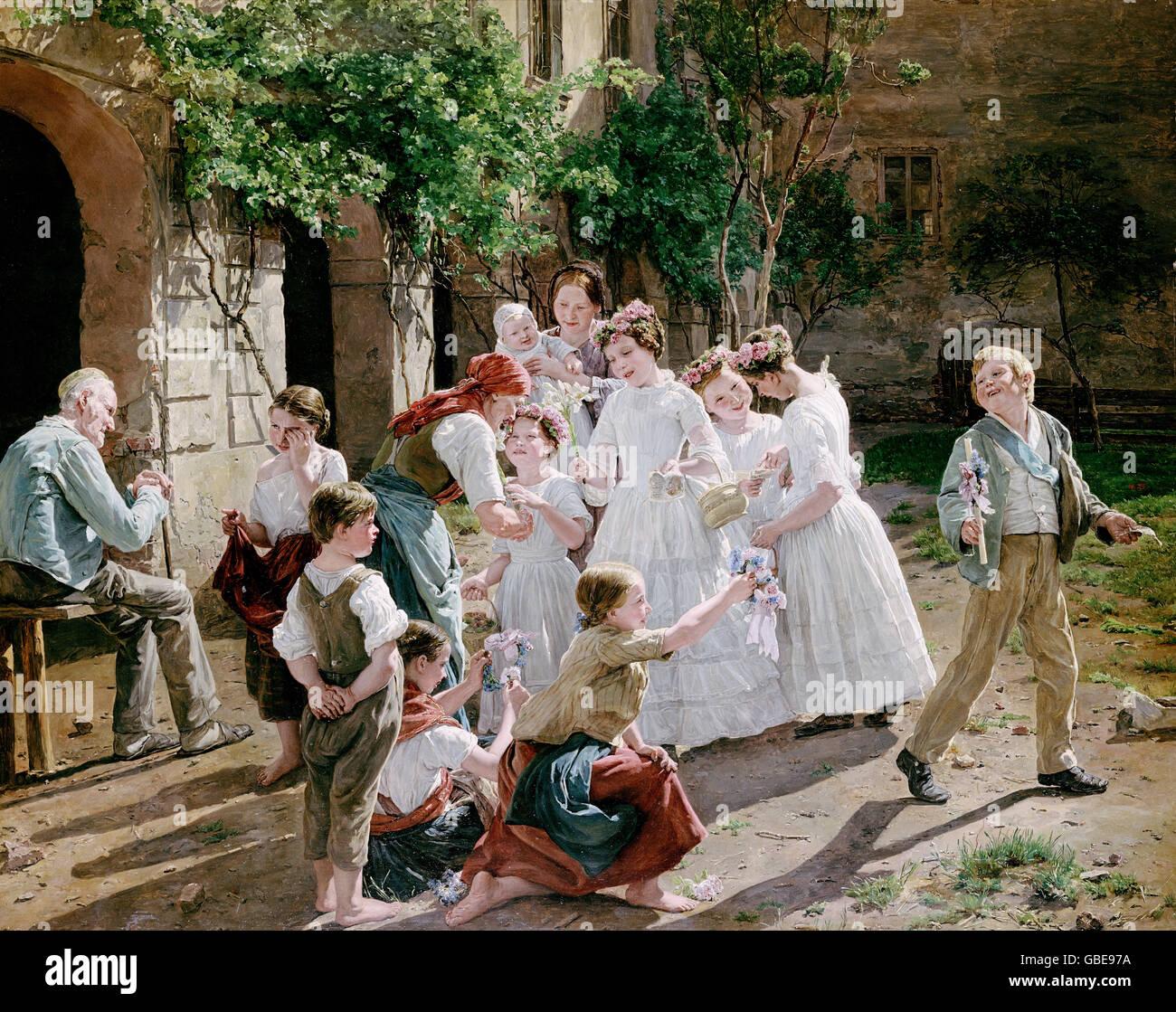 fine arts, Waldmueller, Ferdinand Georg (1793 - 1865), painting, 'Am Fronleichnamsmorgen' (Feast of Corpus - Stock Image