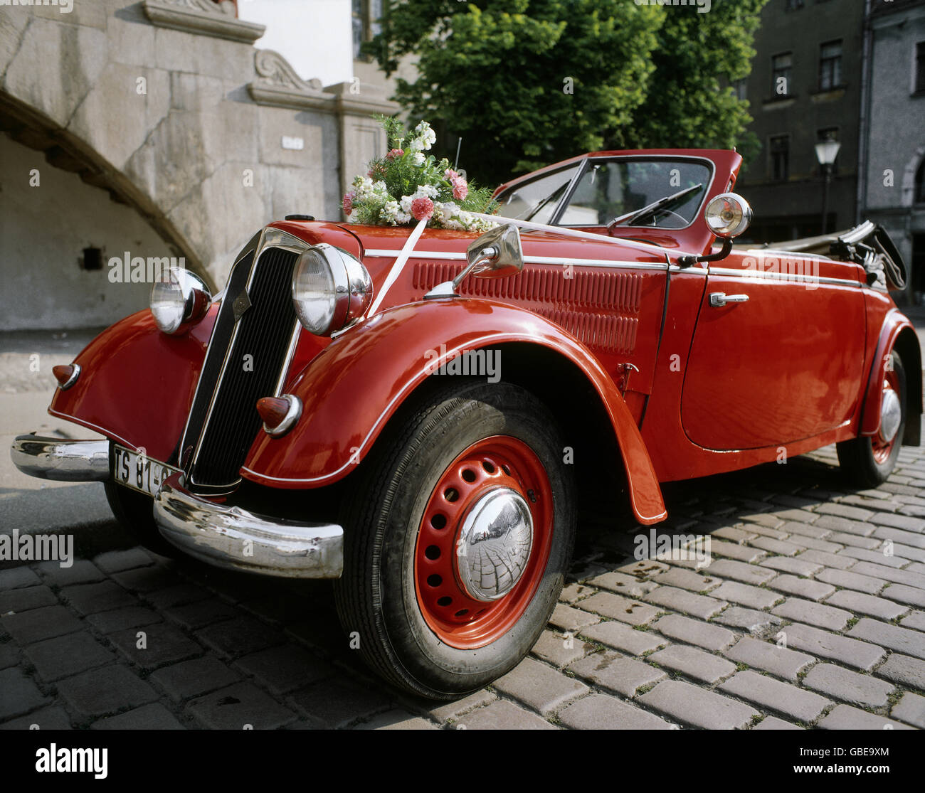 transport / transportation, car, vehicle variants, DKW, veteran car, red, 1930s, 30s, 20th century, historic, historical, - Stock Image