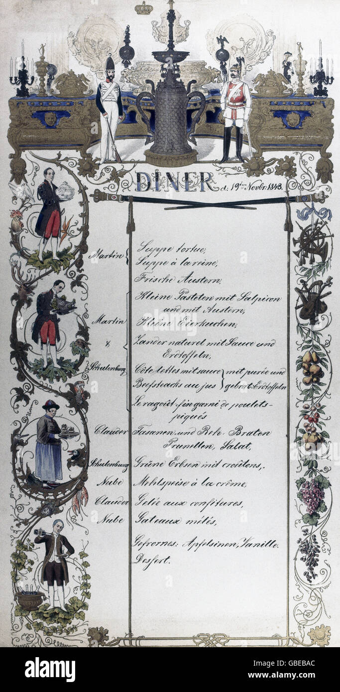gastronomy, menus, dinner, Berlin, presumably at court or the Garde du Corps, 19.11.1848, Additional-Rights-Clearences - Stock Image