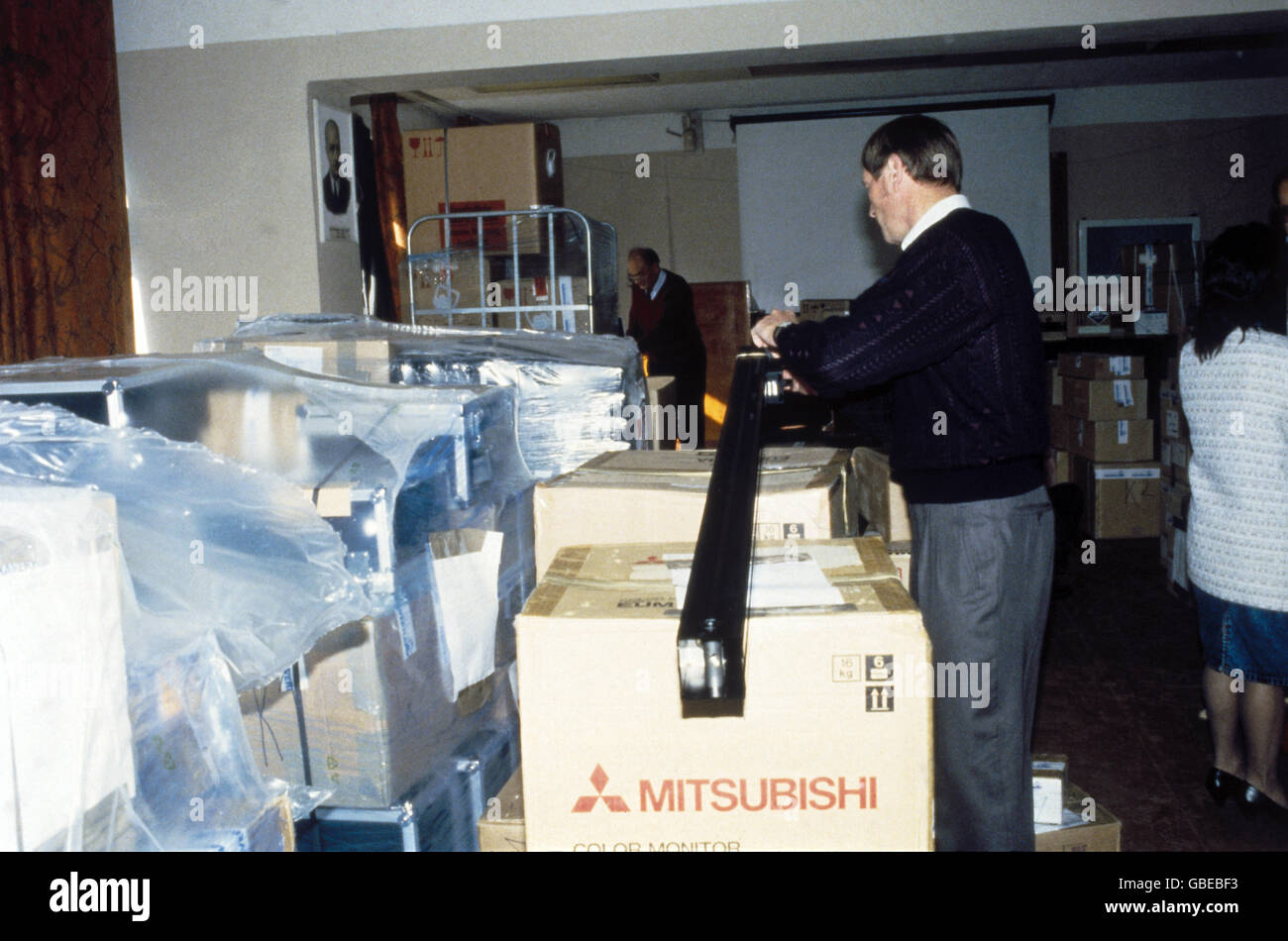 medicine, medical relief supplies after Chernobyl disaster, clinical centre of radiation, Kiev, Ukraine, April 1992, - Stock Image