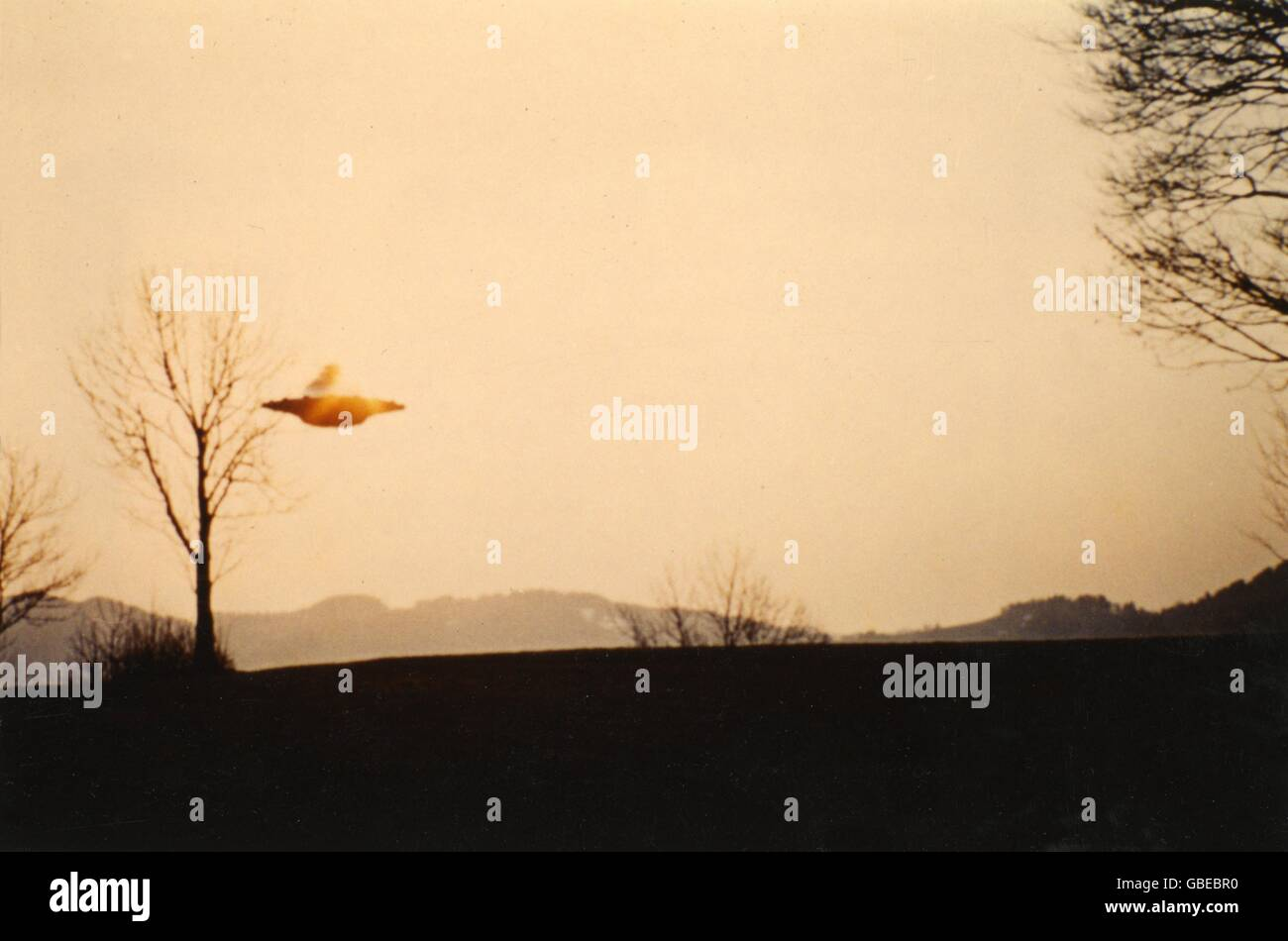 astronautics, unidentified flying object (UFO), ufos, show flight of Semja ship, Hasenböl-Langenberg, Ob Fischenthal, - Stock Image
