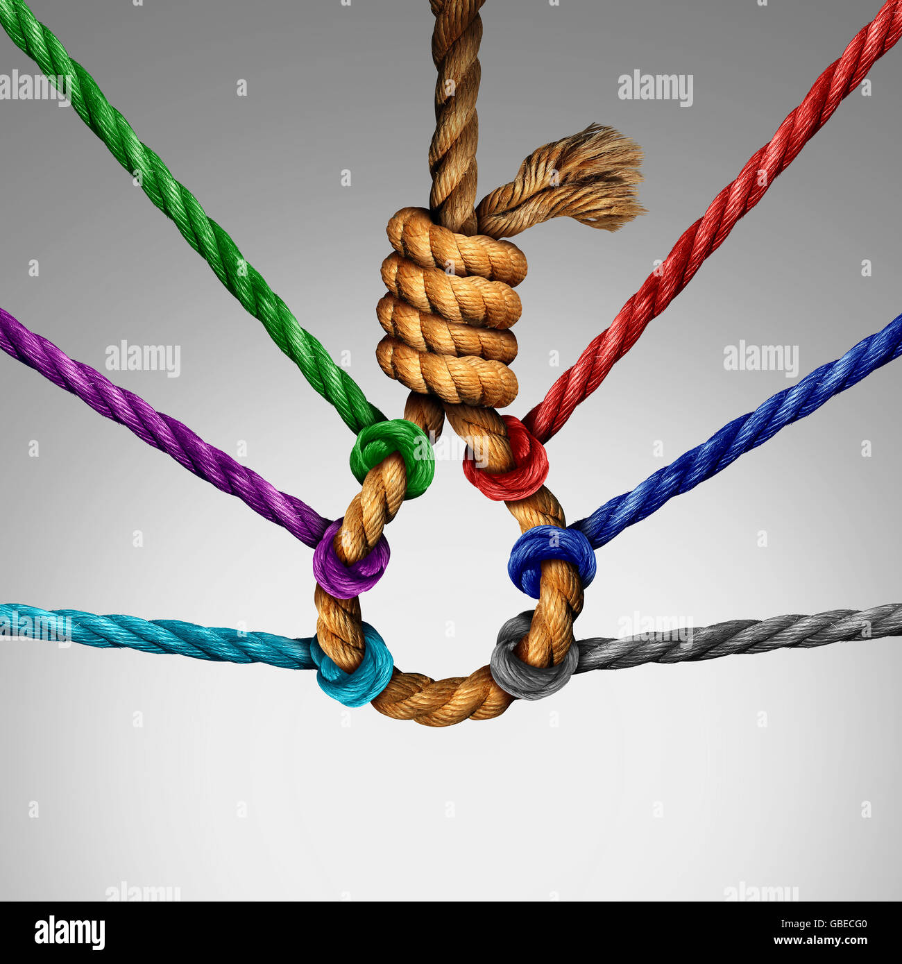Suicide prevention support and group intervention symbol as a rope shaped in a suicidal noose with a group of diverse - Stock Image
