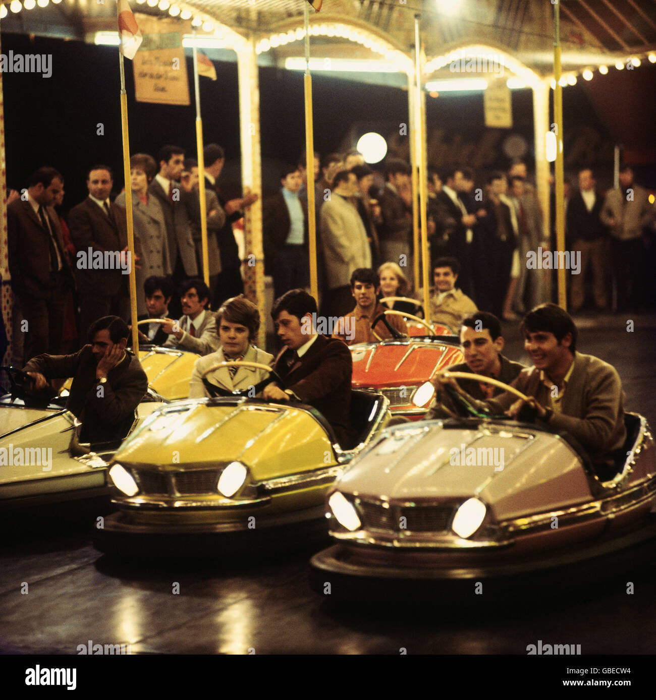 festivity, fair, fairground, bumper car, 1960s, 60s, 20th century, historic, historical, folk festival, carnival - Stock Image