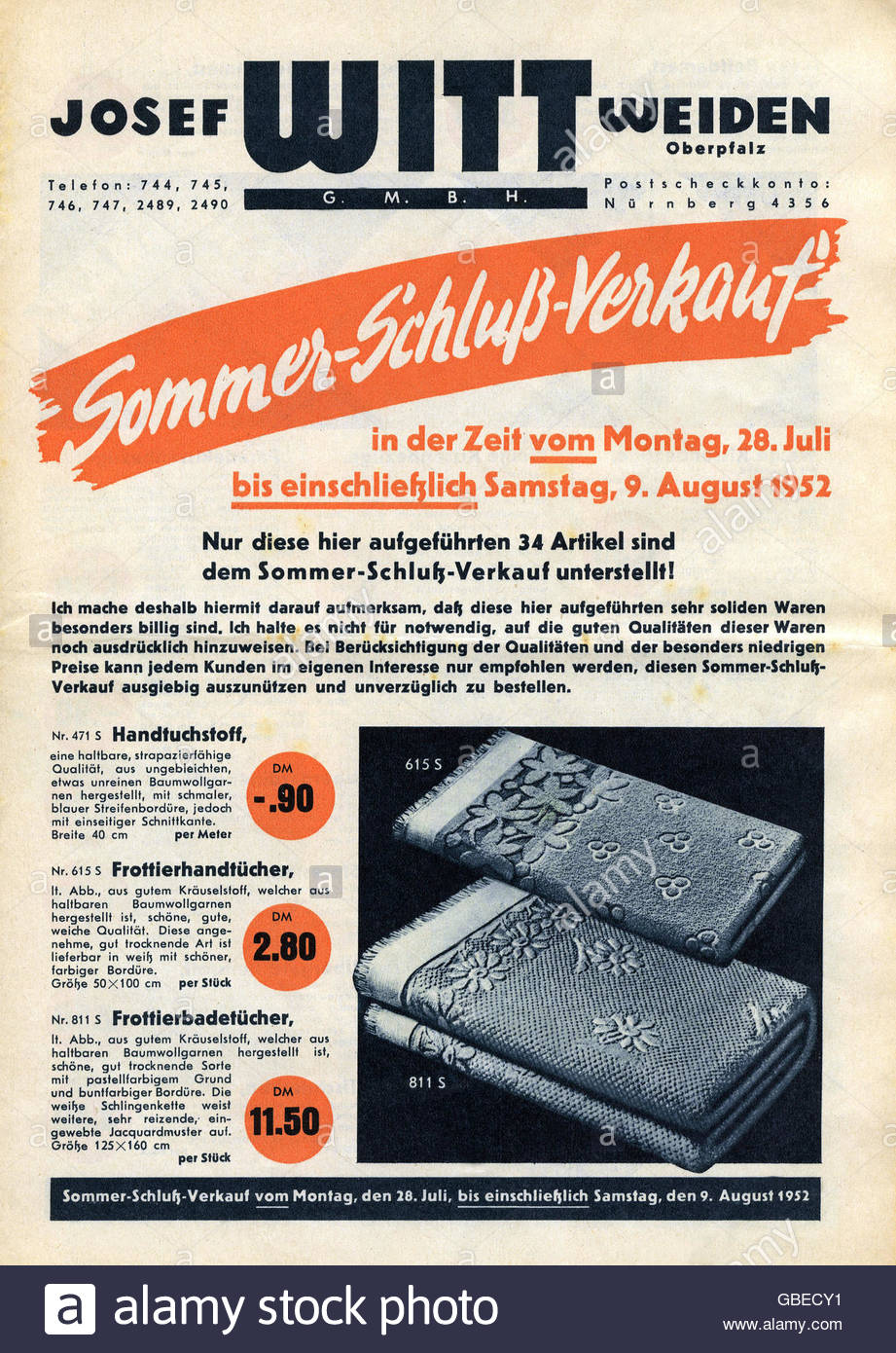 trade, catalogues and flysheets, catalogue of the Josef Witt GmbH, Weiden, cover, July / August 1952, Additional - Stock Image