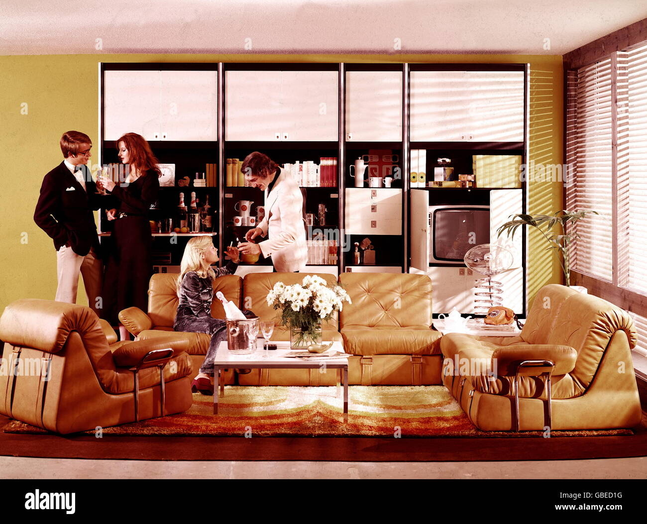 Architecture Interior Design Two Young Couples Drinking Sparkling Stock Photo Alamy