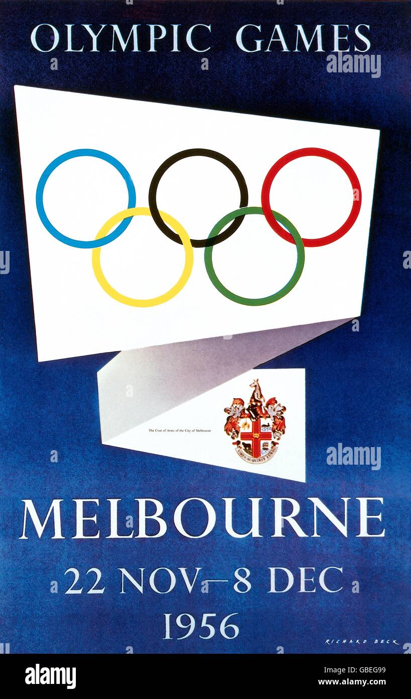 sports, Olympic Games, Melbourne 22.11. - 8.12.1956, poster, 1956, 16th Olympic Games, Australia, Olympic ring, - Stock Image