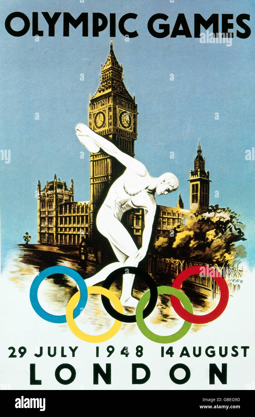 sports, Olympic Games, London 29.7. - 14.8.1948, poster, 1948, 14th Olympic Games, Summer Olympic Games, Summer - Stock Image