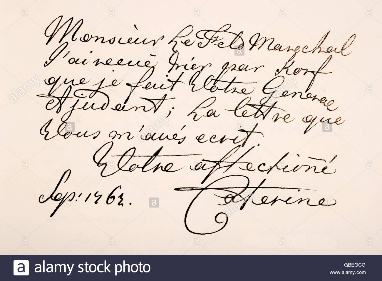 Empress Catherine II of Russia, known as Catherine the Great, 1729 - 1796.   Hand writing sample. - Stock Image