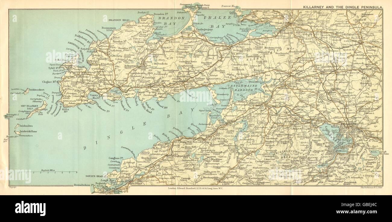 IRELAND: Killarney & Dingle Peninsula & bay. Tralee. STANFORD
