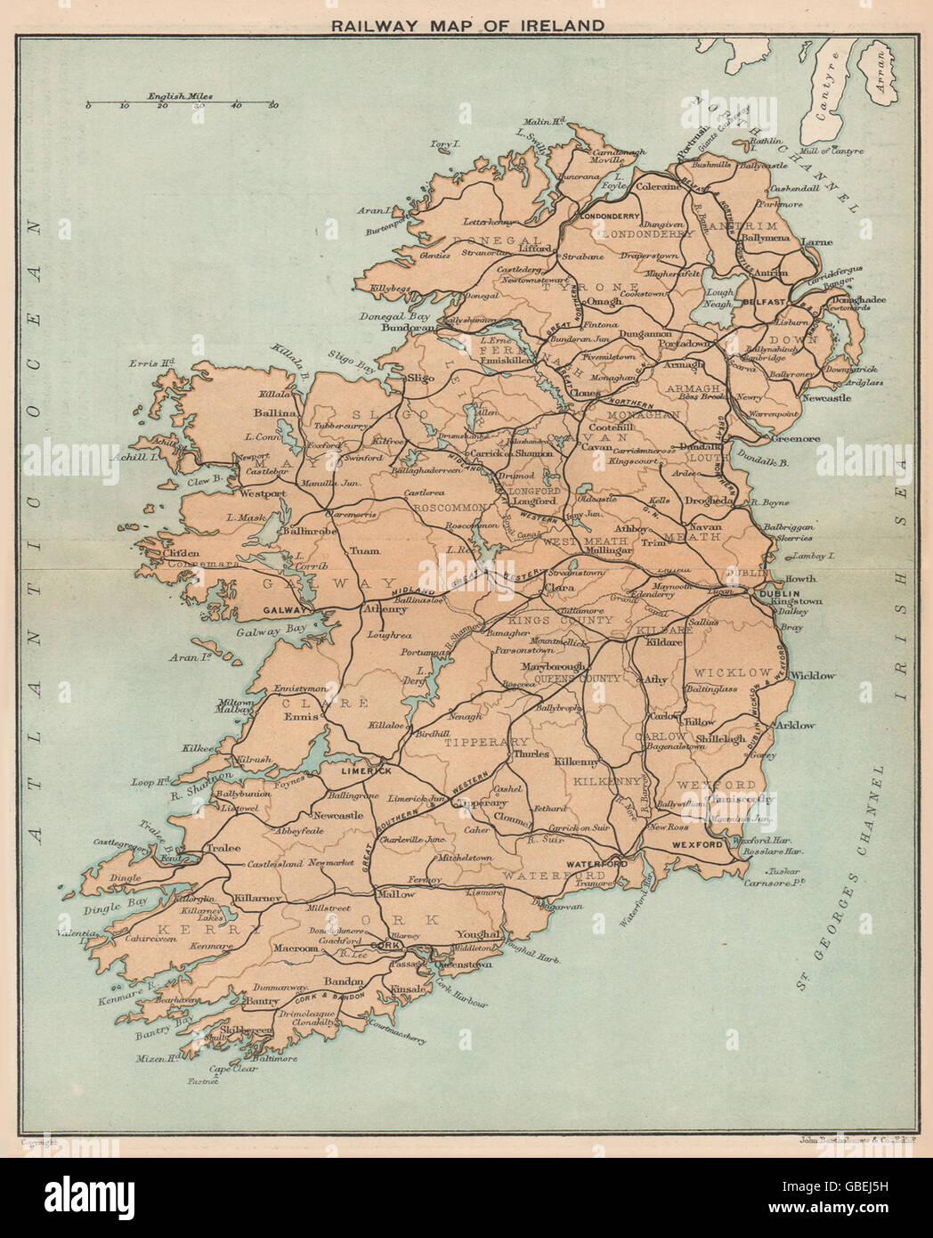 Rail Map Of Ireland.Ireland Railway Map Of Ireland Stanford 1908 Stock Photo
