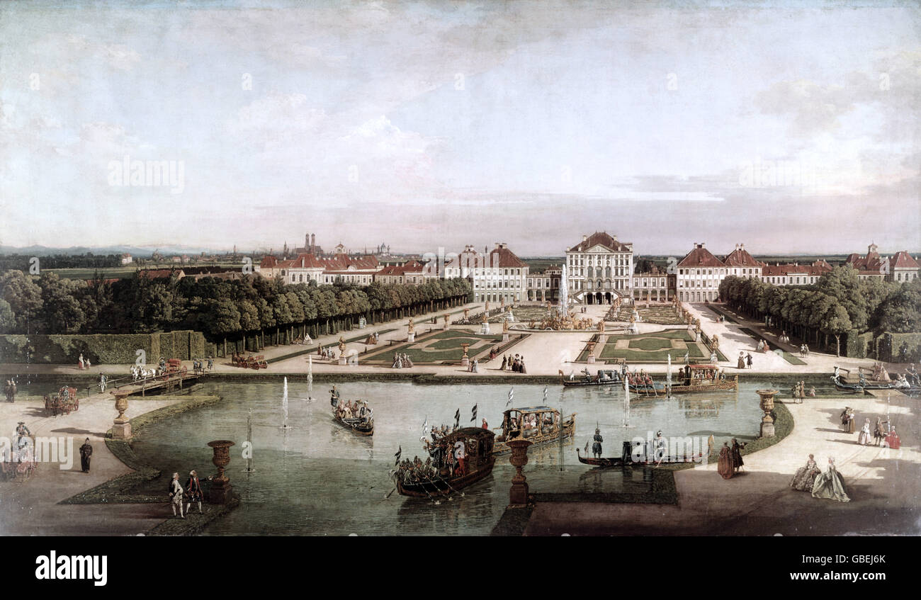 """fine arts, Bellotto, Bernardo, called Canaletto (1721 - 1780), painting, """"Nymphenburg Palace from the park side"""", Stock Photo"""