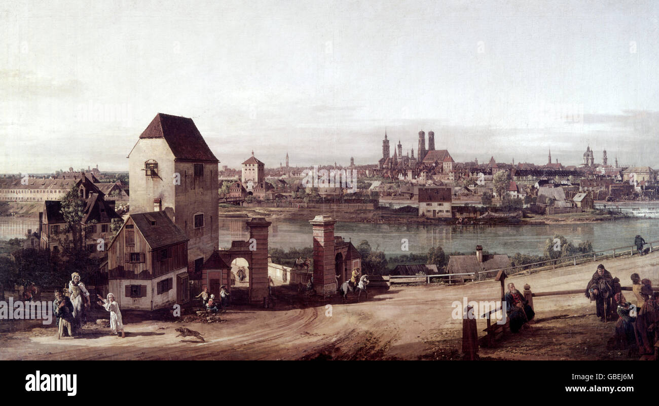 """fine arts, Bellotto, Bernardo, called Canaletto (1721 - 1780), """"Munich, seen from Haidhausen"""", painting, oil on Stock Photo"""