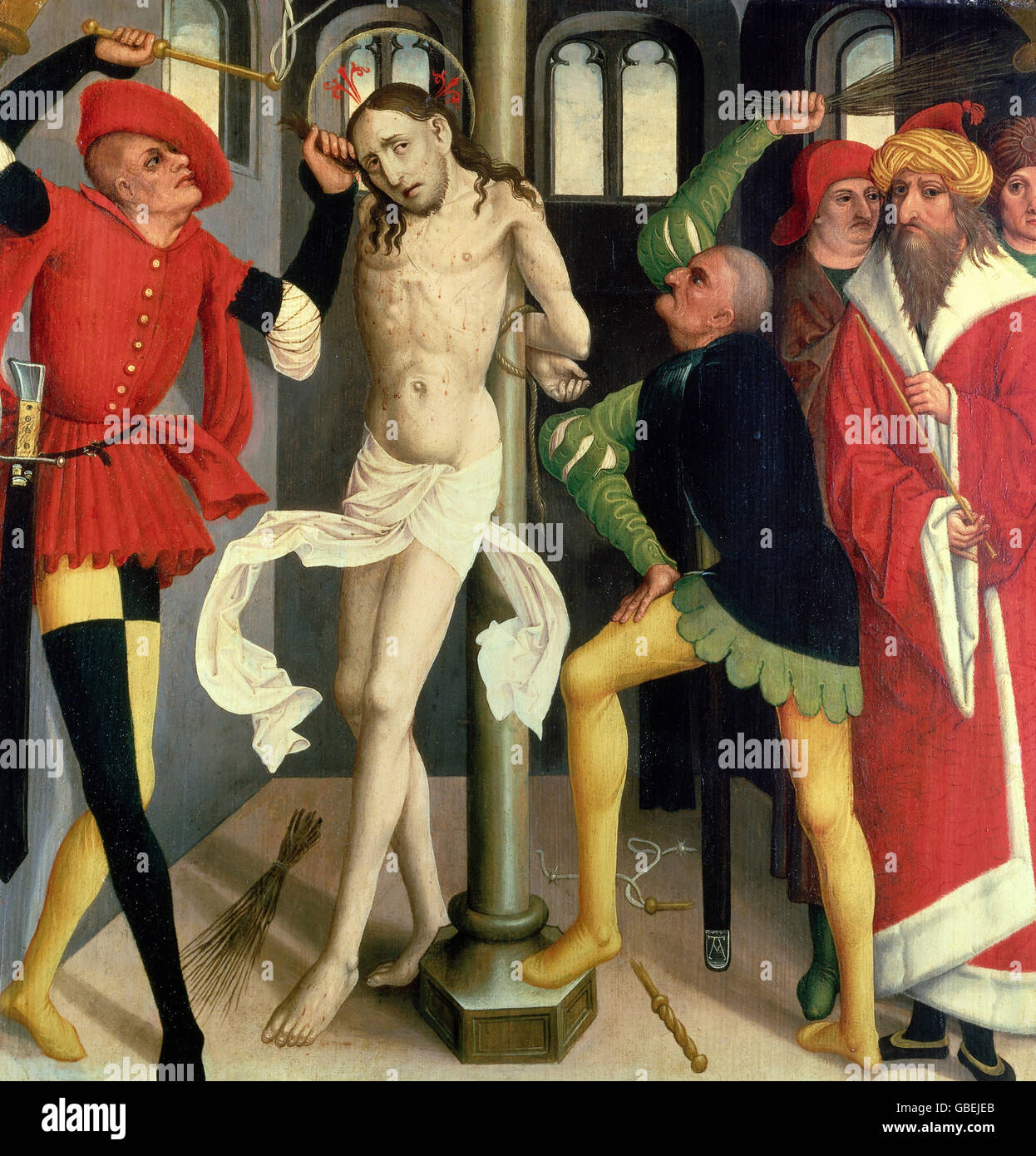 fine arts, religious art, Jesus Christ, passion, painting 'The Flagellation of Christ', oil on panel, double - Stock Image