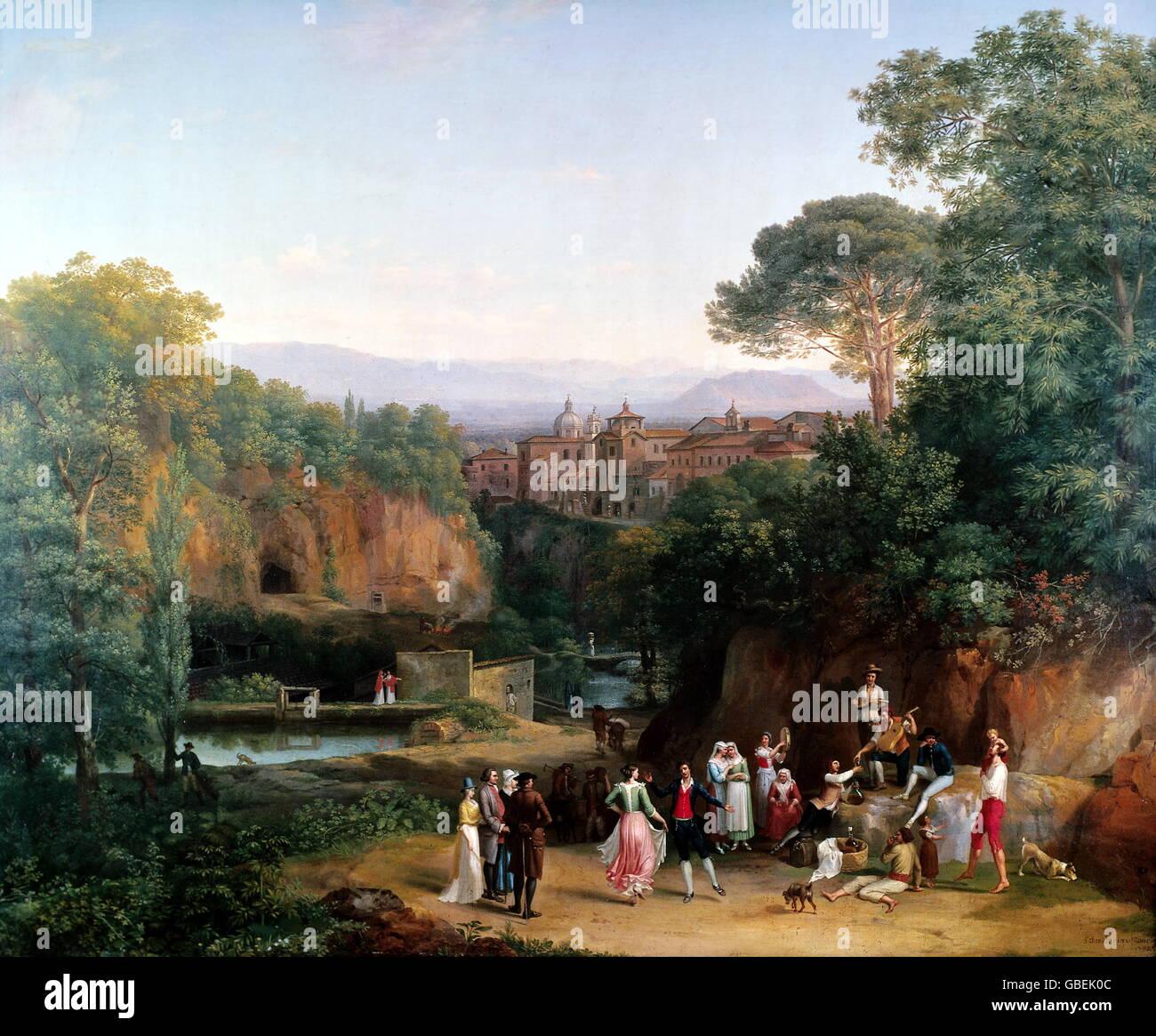 fine arts, Schmidt, Johann Heinrich (called Fornaro) (1741 - 1821), painting 'Tanz im Freien' (Italian Landscape), - Stock Image