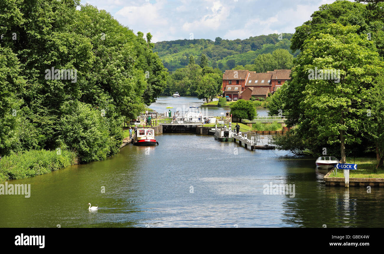 A Boats waiting to enter Temple Lock on the River Thames in England Stock Photo