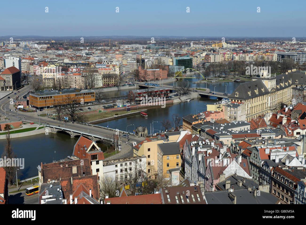 Ueberblick, Fluss Oder, Altstadt, Breslau, Niederschlesien, Polen - Stock Image