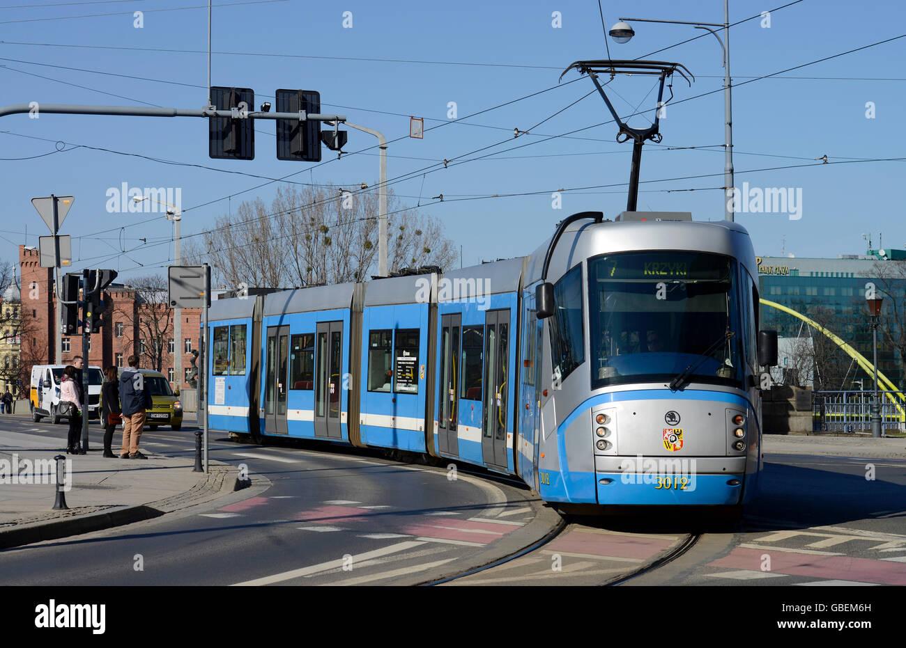 Strassenbahn, Breslau, Niederschlesien, Polen Stock Photo
