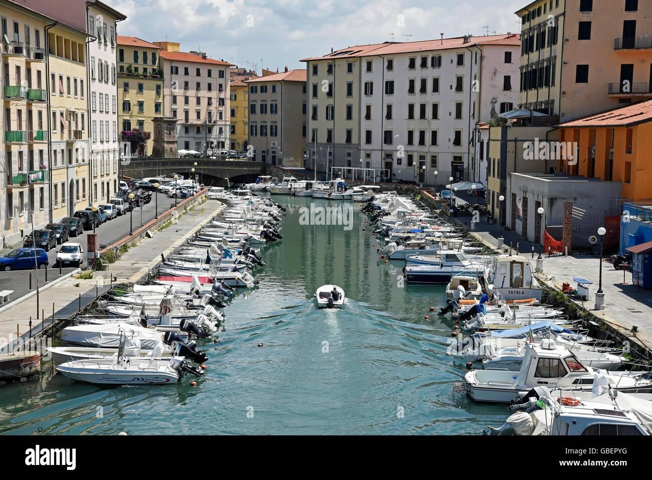 canal, boats, Venezia Nuova, district, historic centre, Livorno, Tuscany, Italy - Stock Image