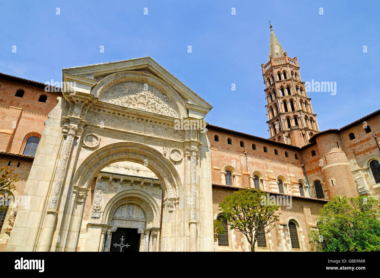 Basilica of St Sernin, Toulouse, Way of St James, Department Haute-Garonne, Midi-Pyrenees, France / bell tower - Stock Image