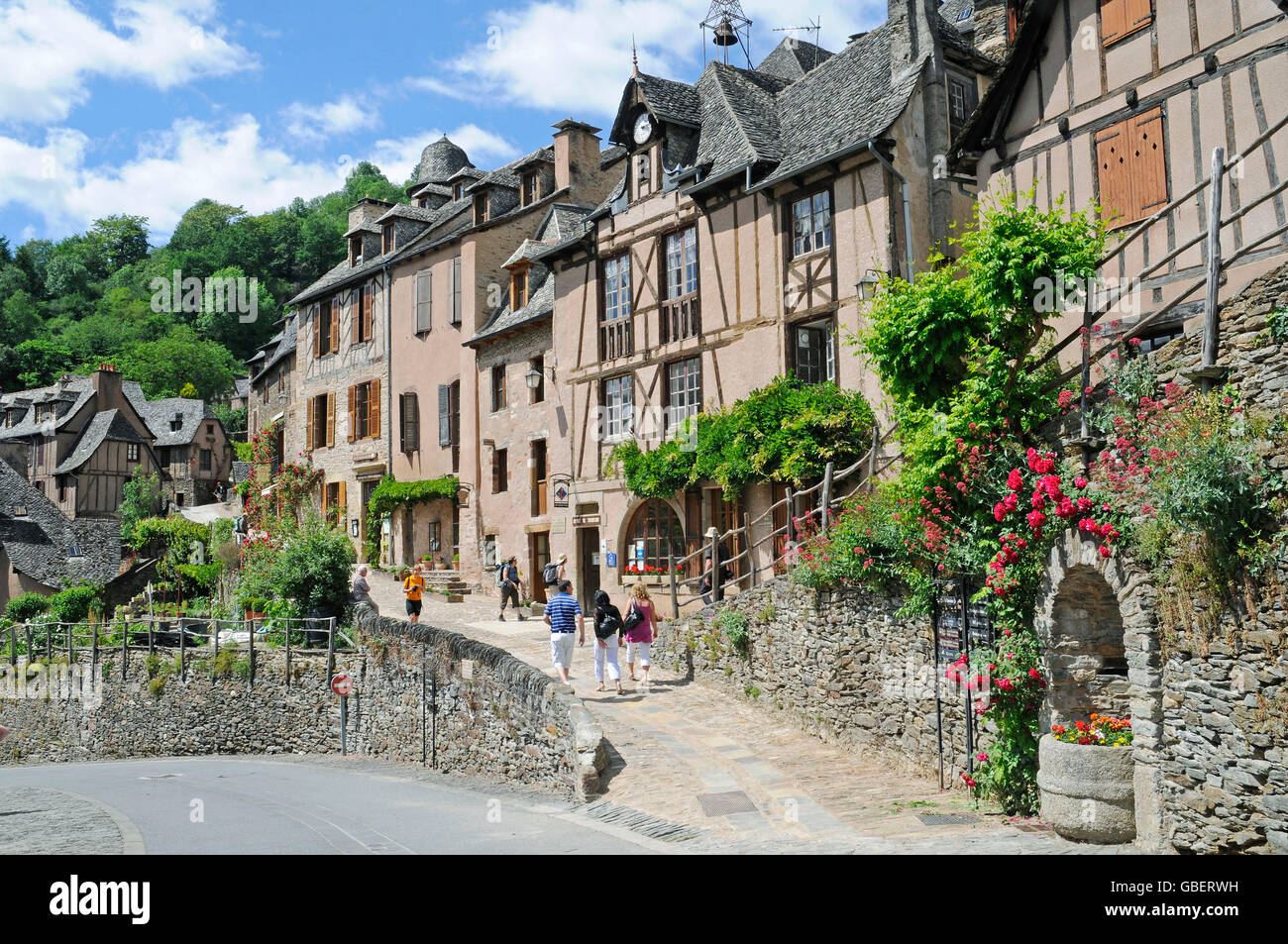 Village road, Conques, Way of St James, Department Aveyron, Midi-Pyrenees, France - Stock Image