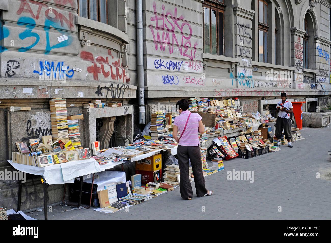 Book seller, university, Bucharest, Romania - Stock Image