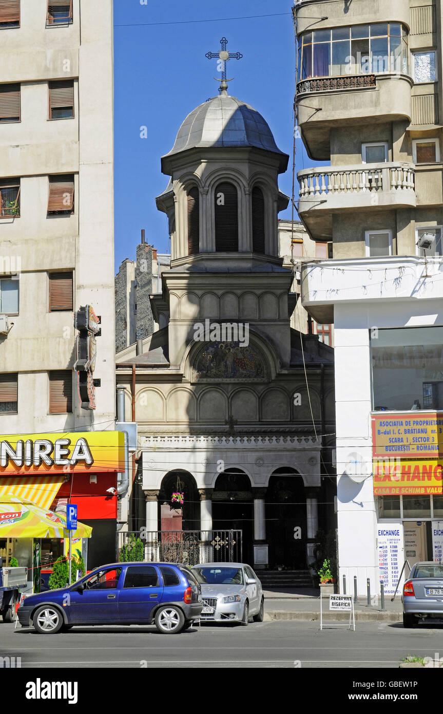 Biserica Sf Ioan-Nou, church, Piata Unirii, square, Bucharest, Romania - Stock Image