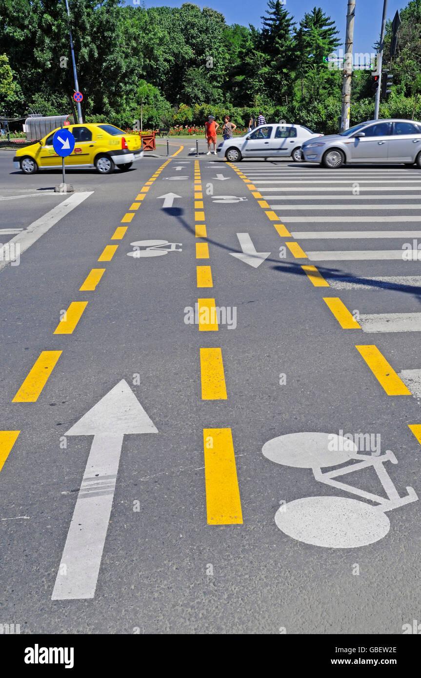 Cycleway, street, Bucharest, Romania - Stock Image