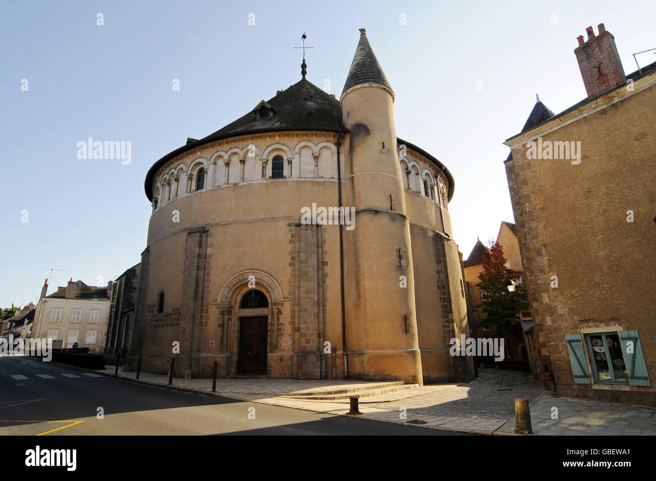 Collegiate church Saint Etienne, Neuvy-Saint-Sepulchre, Indre, Centre, France / St-Jacques de Neuvy-Saint-Sepulchre, - Stock Image