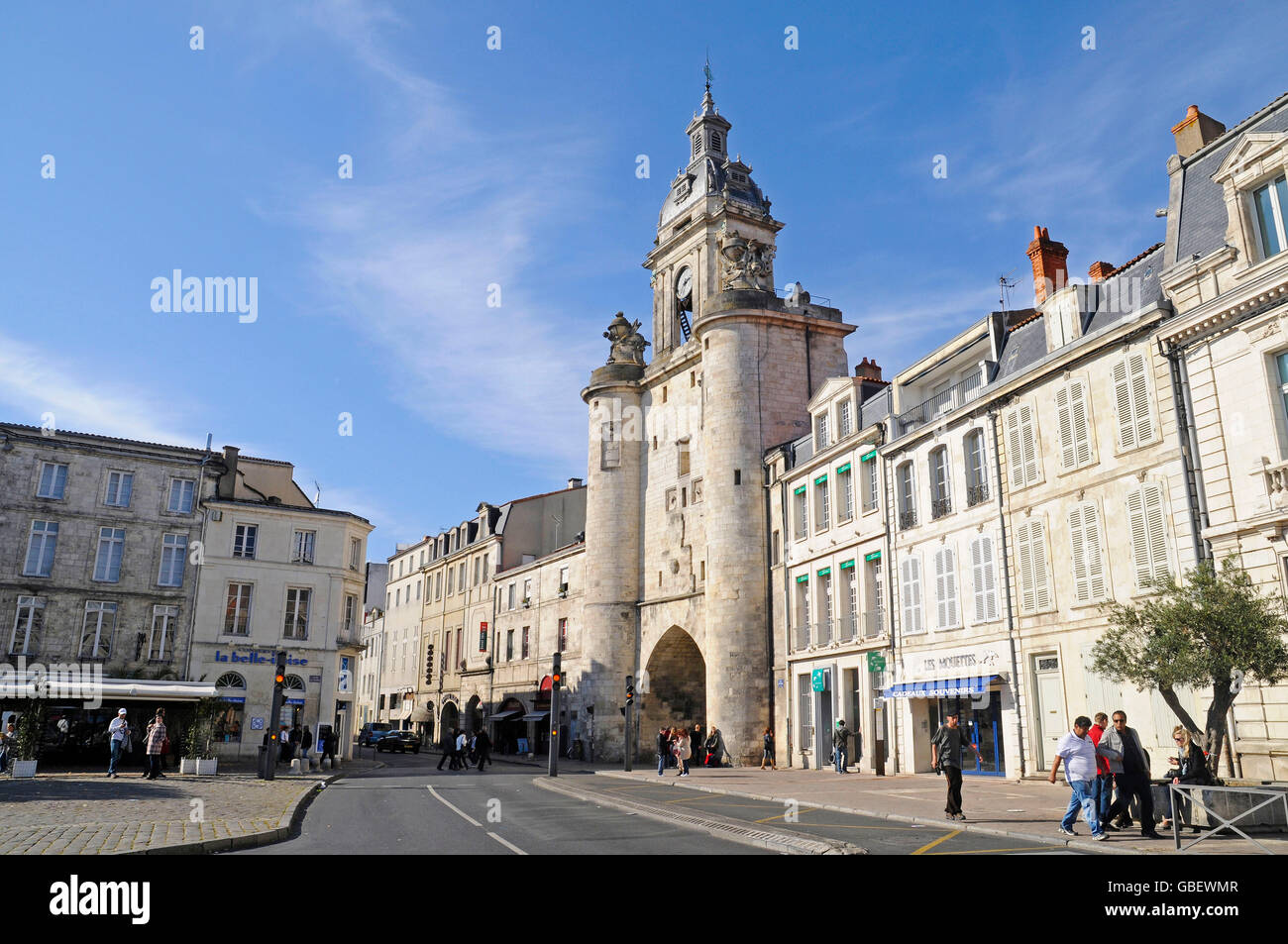 Porte de la Grosse Horloge, city gate, La Rochelle, Departement Charente-Maritime, Poitou-Charentes, France - Stock Image