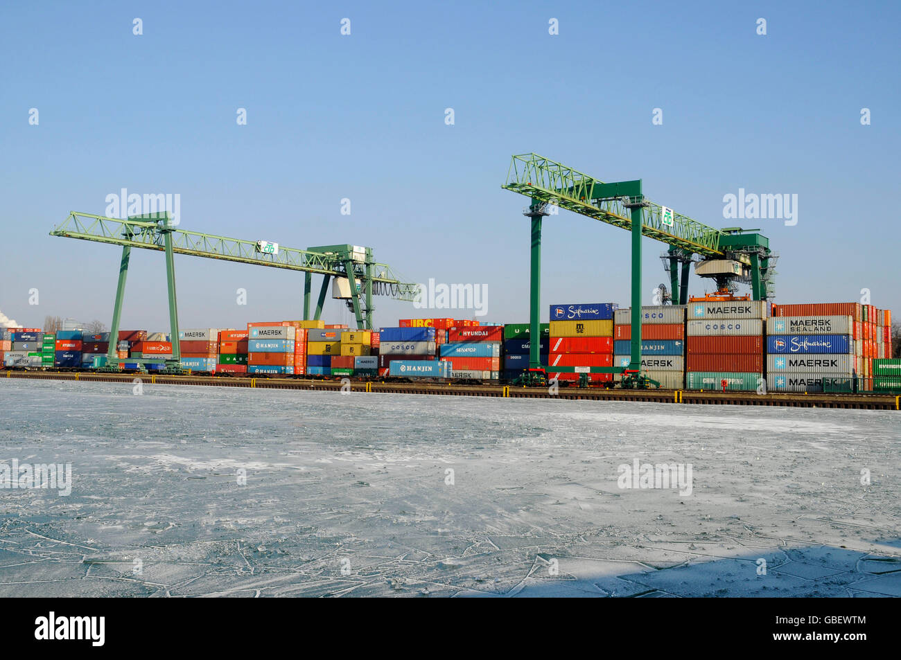 Frozen harbour, Dortmund, North Rhine-Westphalia, Germany / container, container terminal Stock Photo
