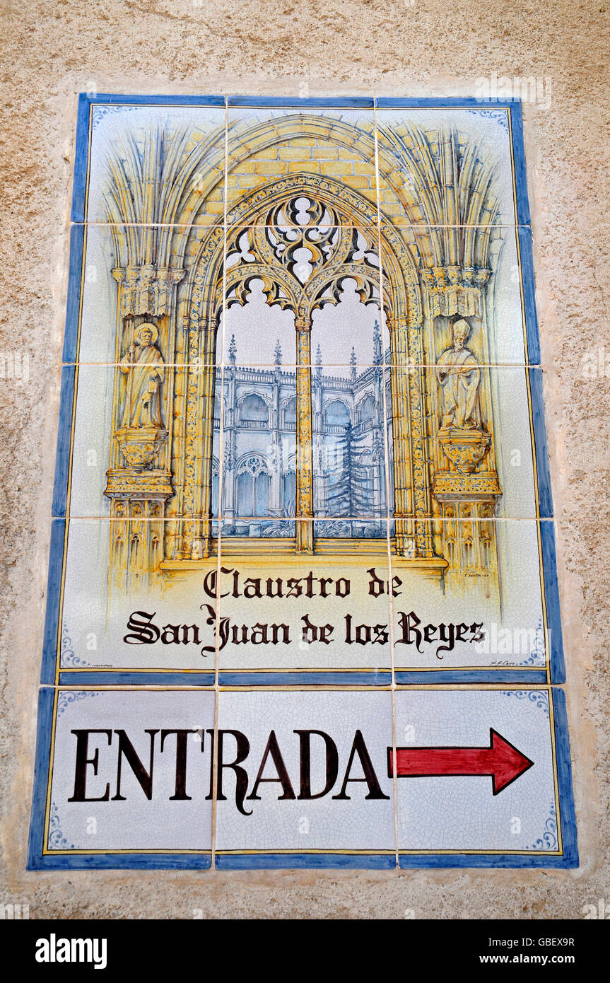 Church San Juan de los Reyes, Spanish tiles, azulejos, entrance sign, Toledo, Castile-La Mancha, Spain - Stock Image