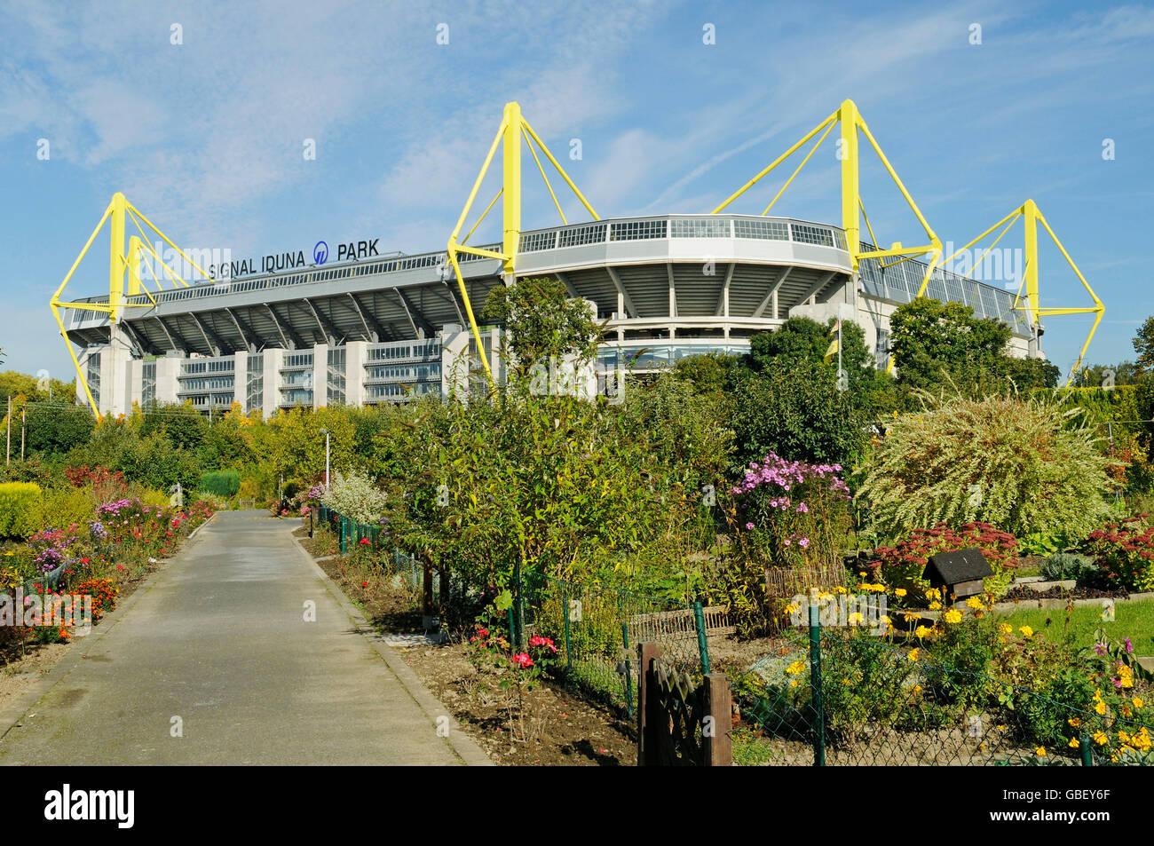Signal Iduna Park, Westfalenstadion, stadium, BVB, Borussia, football stadium, allotment garden area, Dortmund, - Stock Image