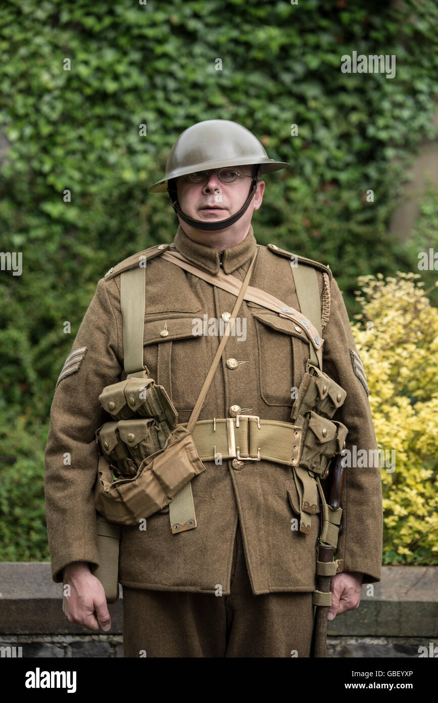 Reenactor in British army battledress from world war one. - Stock Image