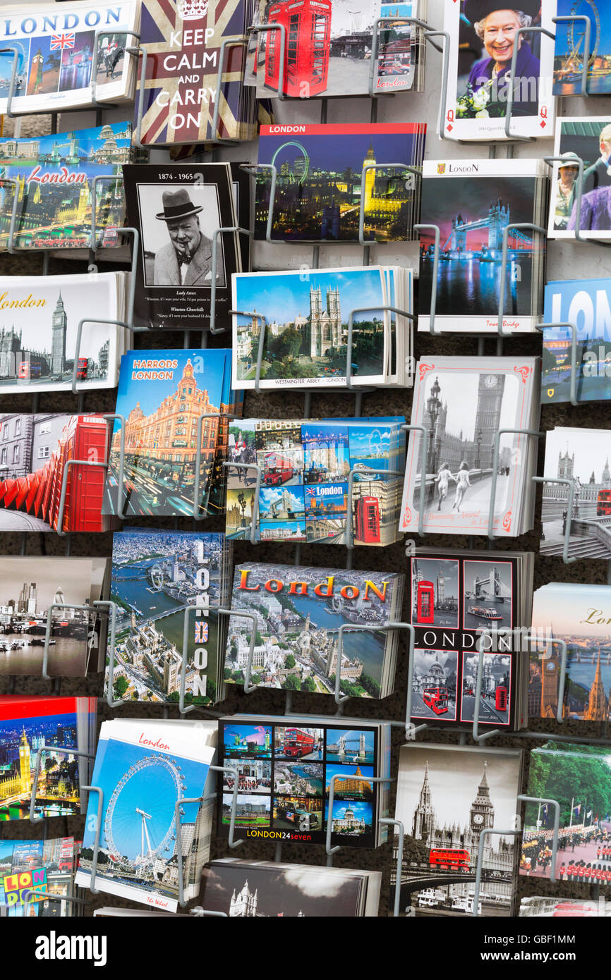 Postcards London souvenirs for sale in London - Stock Image