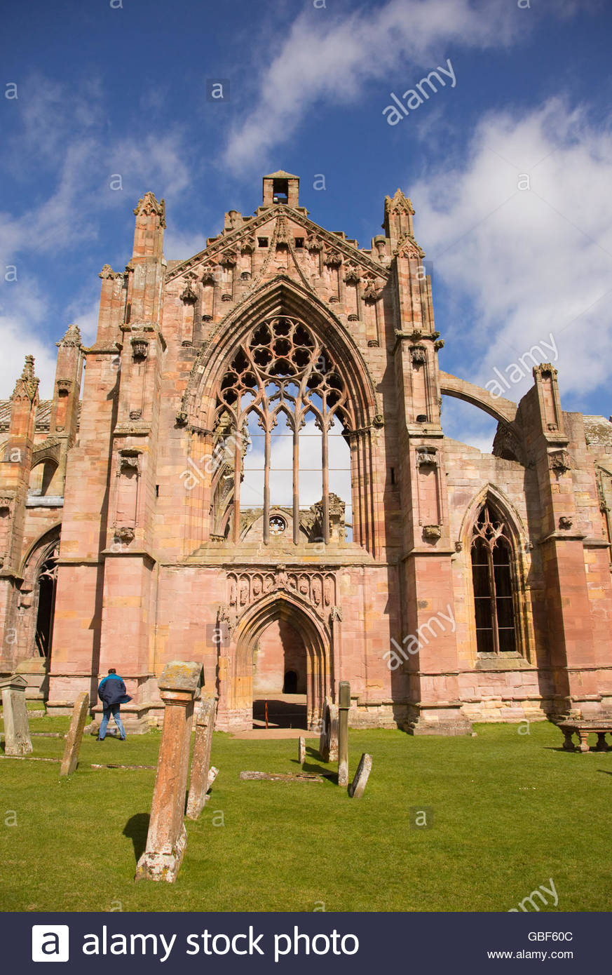 The ruined remains of Melrose Abbey, Scottish Borders, Scotland. - Stock Image