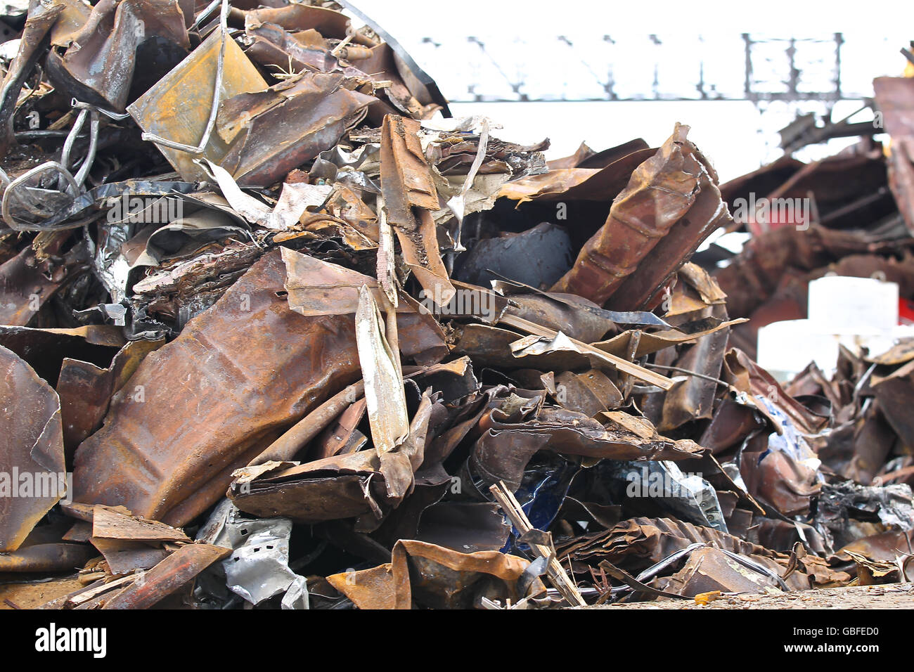 large pile of scrap metal for further processing - Stock Image