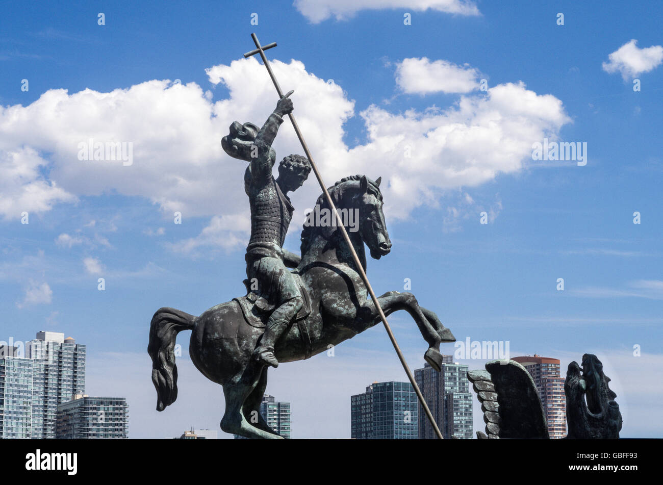St. George Slaying Dragon Statue, United Nations, NYC - Stock Image