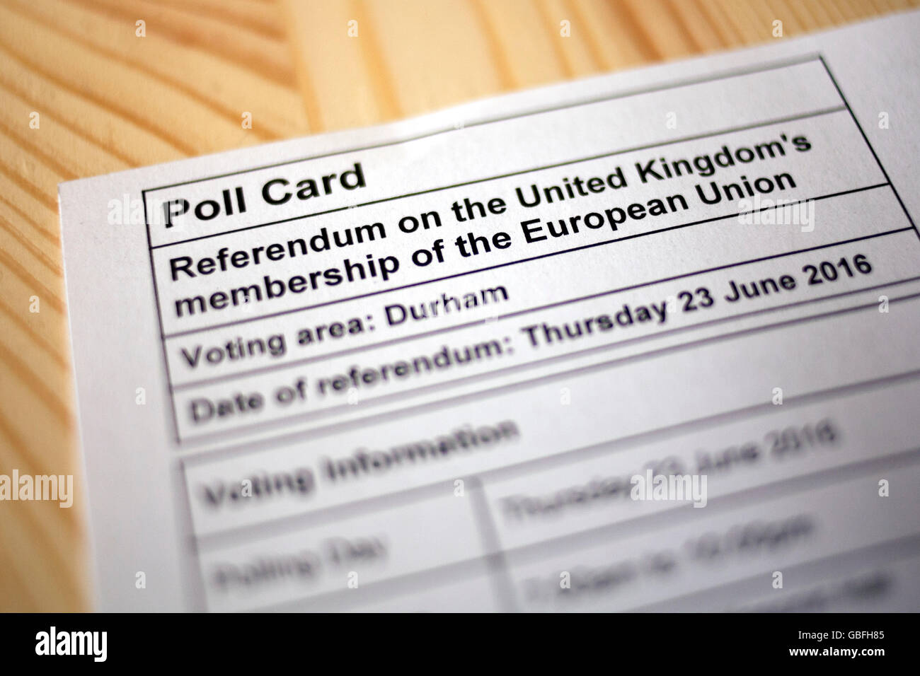 United Kingdom European Union Referendum Polling Card - Stock Image