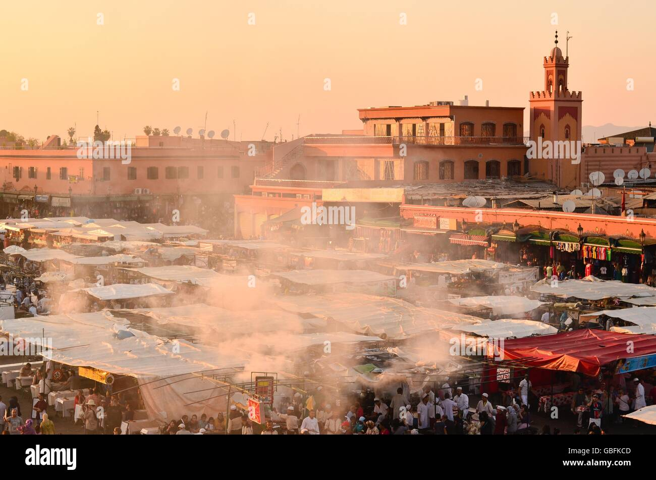 Jemaa el-Fnaa Square During Sunset Stock Photo