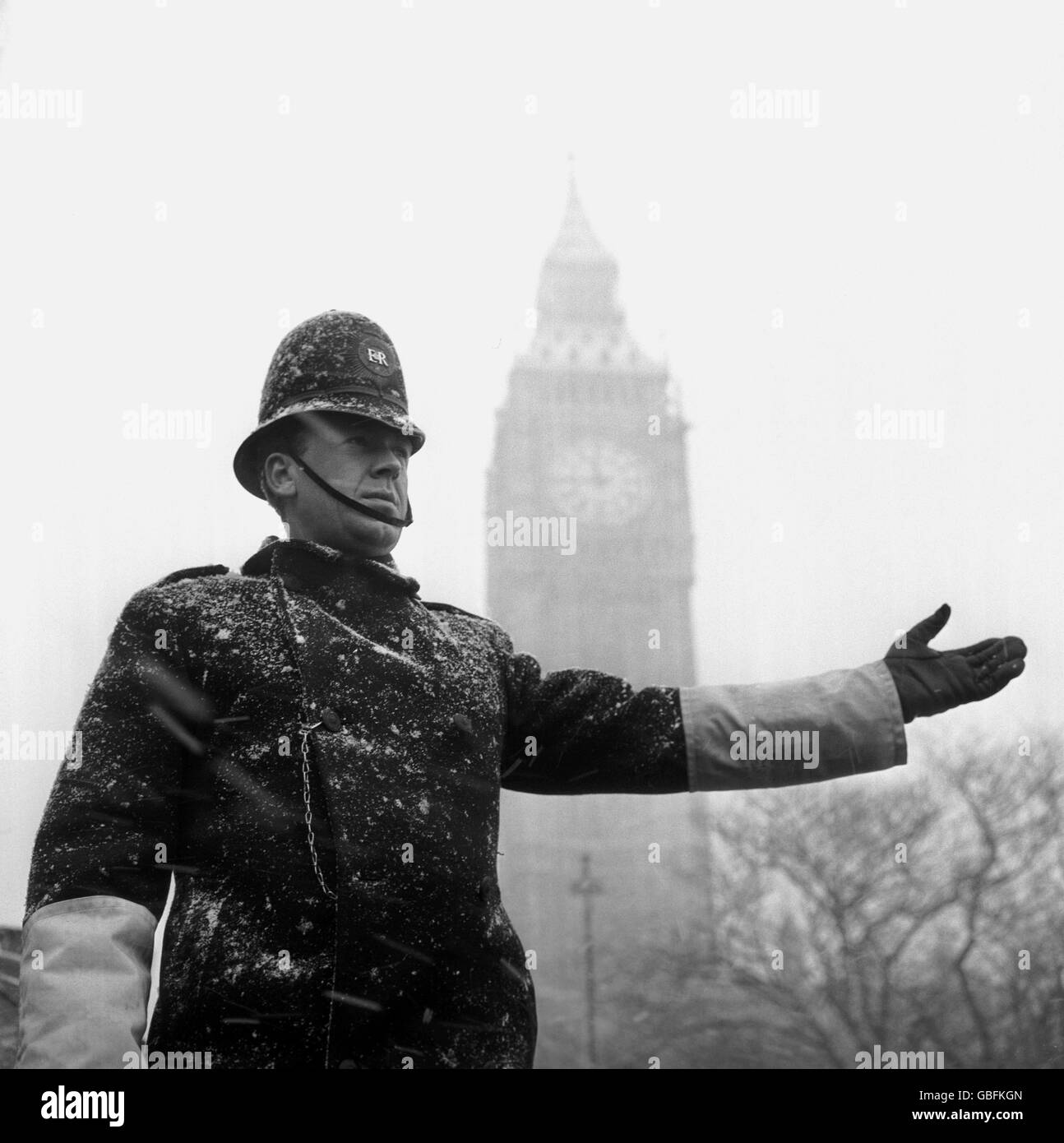 British Law and Order - Police - Traffic Control - London - 1962 - Stock Image