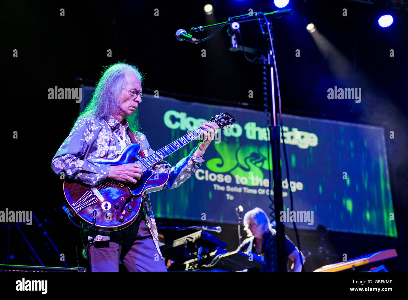 Steve Howe of British progressive rock band Yes performing at the Clyde Auditorium, Glasgow. - Stock Image