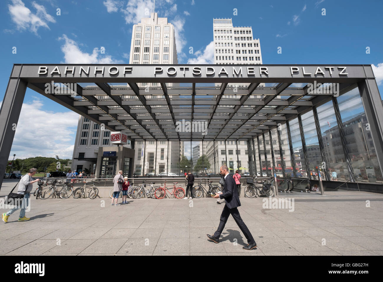 Entrance Potsdamer Platz railway station at Potsdamer Platz in Berlin Germany - Stock Image