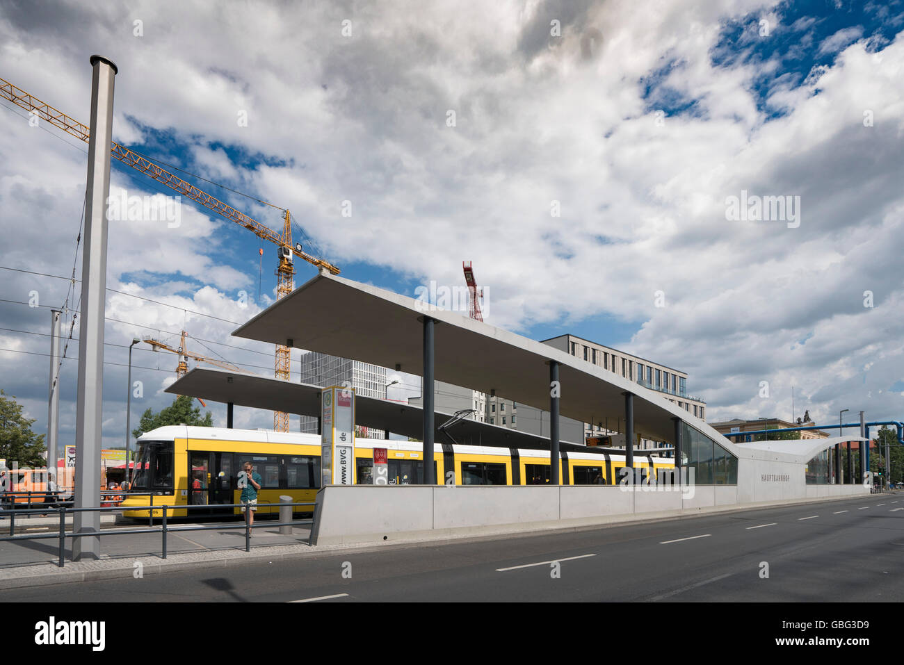 Modern new tram stop shelter at Hauptbahnhof , main railway station in Berlin Germany - Stock Image